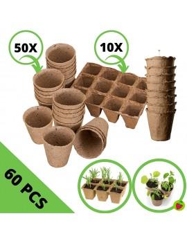 Set de macetas y semilleros de germinación biodegradables