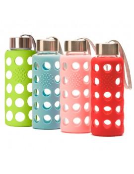 Fresanas botella reutilizable borosilicato con funda de silicona 4 colores a elegir: azul, rojo, rosa y verde