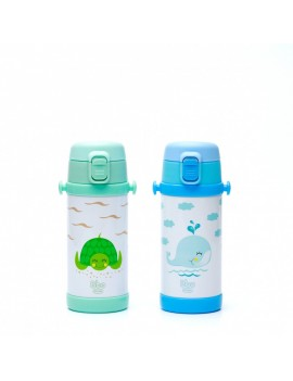 Fresanas botella infantil reutilizable de acero 320 ml a elegir verde tortuga o azul ballena