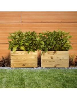Fresanas jardinera de madera maceta rectangular model GHIO Hortalia 60 x 30 x 40 cm.